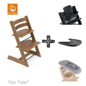 SET | Kinderstoel Stokke® Tripp Trapp® Oak Brown met Newbornset & Babyset & Gratis Eetblad