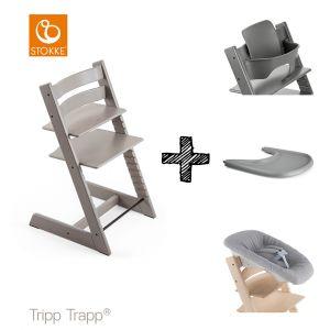 SET | Kinderstoel Stokke® Tripp Trapp® Oak Grey Wash met Newbornset & Babyset & Gratis Eetblad