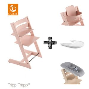 SET | Kinderstoel Stokke® Tripp Trapp® Serene Pink met Newbornset & Babyset & Gratis Eetblad