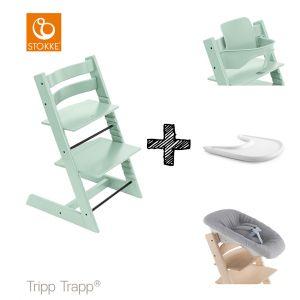 SET | Kinderstoel Stokke® Tripp Trapp® Soft Mint met Newbornset & Babyset & Gratis Eetblad