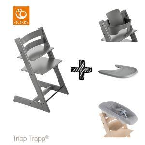 SET | Kinderstoel Stokke® Tripp Trapp® Storm Grey met Newbornset & Babyset & Gratis Eetblad