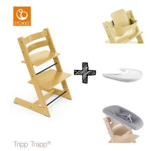 SET | Kinderstoel Stokke® Tripp Trapp® Sunflower Yellow met Newbornset & Babyset & Gratis Eetblad