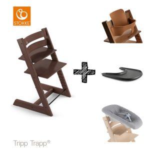 SET | Kinderstoel Stokke® Tripp Trapp® Walnut Brown met Newbornset & Babyset & Gratis Eetblad