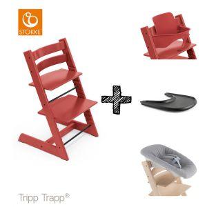 SET | Kinderstoel Stokke® Tripp Trapp® Warm Red met Newbornset & Babyset & Gratis Eetblad