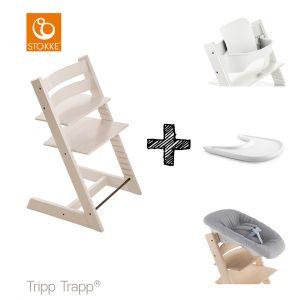 SET | Kinderstoel Stokke® Tripp Trapp® White Wash met Newbornset & Babyset & Gratis Eetblad