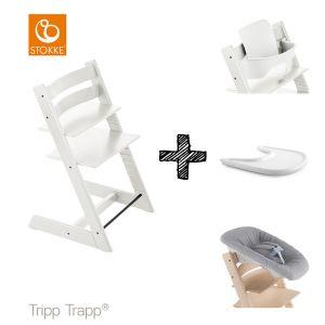 SET | Kinderstoel Stokke® Tripp Trapp® White met Newbornset & Babyset & Gratis Eetblad