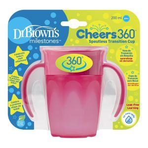 Dr. Brown's Cheers 360º Drinkbeker 200 ML Roze