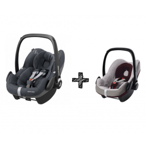 Autostoel Maxi-Cosi Pebble Pro i-Size Essential Graphite + Beschermhoes + E-Safety Maxi-Cosi Smart Cushion
