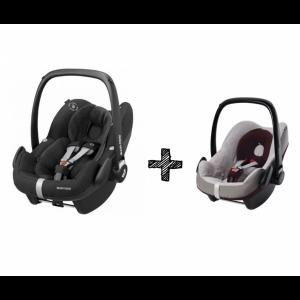 Autostoel Maxi-Cosi Pebble Pro i-Size Essential Black + Beschermhoes + E-Safety Maxi-Cosi Smart Cushion