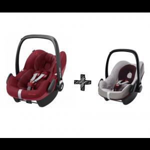 Autostoel Maxi-Cosi Pebble Pro i-Size Essential Red + Beschermhoes + E-Safety Maxi-Cosi Smart Cushion