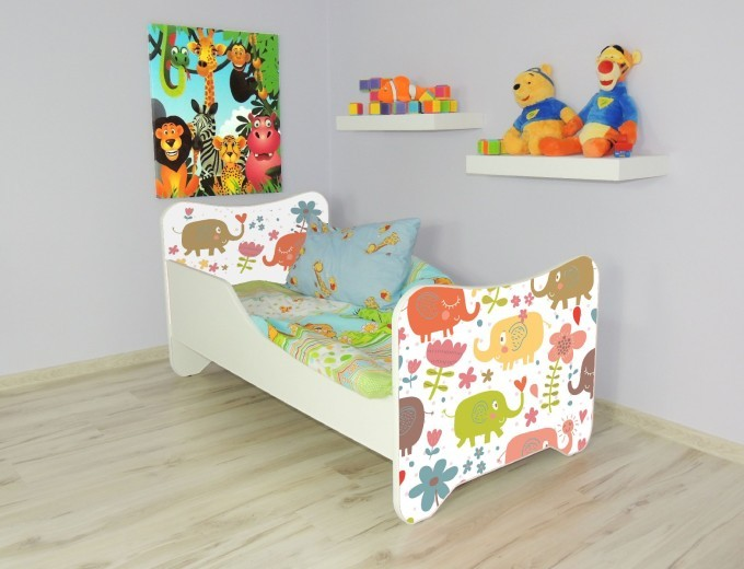 Peuterbed Top Beds Happy 140x70 Olifantjes Inclusief Matras